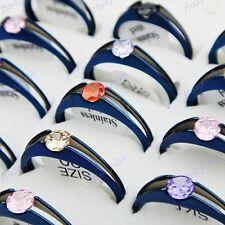 10pcs Blue Cubic Zircon Stainless Steel Women Mens Rings Wholesale Jewelry Lots