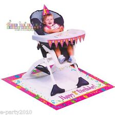 GIRLS 1ST Birthday Pink HIGH CHAIR DECORATING KIT ~ Party Supplies Decorations