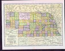 NE - Century-Old 1904 COLOR STATE MAP - Nebraska