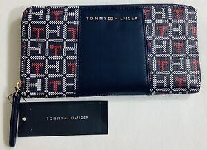 NWT Tommy Hilfiger Signature Wallet  Logo Women Organizer Wallet Navy Multi