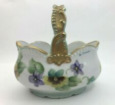 Porcelain Basket Gold Trim Pansies Vintage Hand Painted Artist Signed