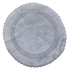 Bath Rug Cotton 36 Inch Round, Reversible, Silver Gray, Crochet Lace Border