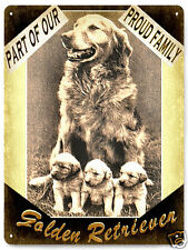 Golden retriever Dog metal sign cute puppy family vintage style great gift 286
