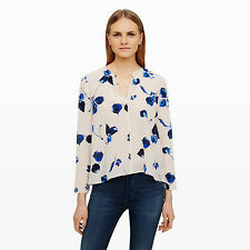 NWOT $150 Club Monaco Aldabella Silk Top with Blue Floral Print Size XS