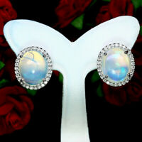 NATURAL 10 X 12 mm. CABOCHON WHITE RAINBOW OPAL & WHITE CZ EARRINGS 925 SILVER