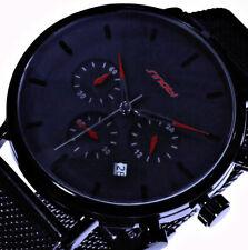 Herren Mesh Uhr Schwarz Rot Datum Edelstahl - Armband Chronograph Datum
