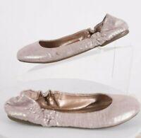 BCBG Paris Magie Womens Ballet Flats 36 US 6 Ballerinas Shoes Silver Tan Elastic