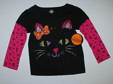 Halloween~Langarmshirt~USA~Gr.80~Katze~schwarz~Pullover~Glitter~Ohren~Mädchen~