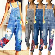 Womens Denim Bib Jeans Overalls Ladies Baggy Jumpsuit Playsuit Floral Dungarees