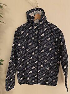 Adidas Originals Trefoil Men's Hooded Jacket Windbreaker Waterproof Blue Sz L