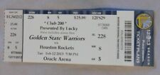 Golden State Warriors Vs Houston Rockets 2/12/13 unused Ticket