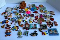 LOT OF 71 VINTAGE REFRIGERATOR MAGNETS assorted- Rainbow Santa Duck Tiger ABC
