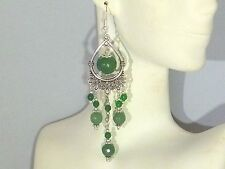 Gemstone Earrings - Faceted Emeralds with 925 Sterling Silver - long chandeliers