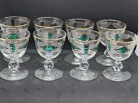 Vintage Etched Wine Cordial Liqueur Glasses Set of 8