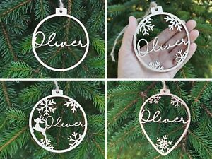 Personalised Wooden Bauble Hanging and Bunting Name Gift Tag Christmas Decor, C5