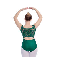 Dance Leotard Ballet Shiny Lycra Costume Bodysuit Lace Dancewear Adult Girls