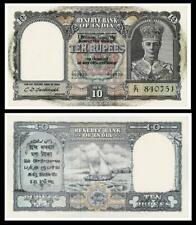 SCARCE 1940s RESERVE BANK OF INDIA TEN RUPEES BANKNOTE C71 840751~~ UNCIRCULATED
