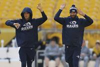 Jared Goff 16 Game Worn Used Nike Onfield Apparel Los Angeles Rams NFL Hoodie XL