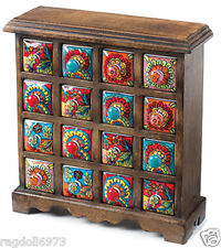 FAIR TRADE HAND CRAFTED MANGO WOOD 16 DRAWER MULTI COLOUR CERAMIC SPICE CHEST