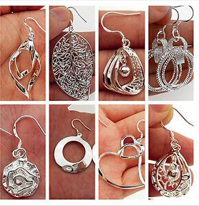 NEW Fashion 925 Sterling Silver Plated Lady Hoop Dangle Earring Jewelry Eardrop