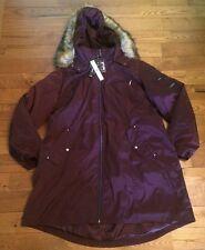 NWT Women's Port Wine TAHARI Water Resistant Faux Fur 3-In-1 Coat Size 1X