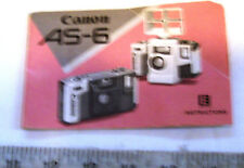 Org. Canon As-6 Underwater Instruction Book Operating Guide Camera User Manual