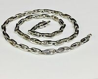 """10k Solid White Gold Handmade ROLO Link Chain/Necklace 22"""" 53 grms 5.75 MM"""