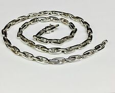 "10k Solid White Gold Handmade ROLO Link Chain/Necklace 20"" 48 grms 5.75 MM"