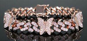 18k Rose Gold Finish Cuban Miami BUTTERFLY Bracelet Women's Diamonds - FAST SHIP