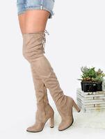 CAPE ROBBIN KHAKI Block Heel Stretchy Over the Knee Heeled Boot