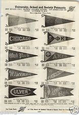 1913 PAPER AD Collage HS Felt Pennants Pillow Case Yale Brown Michigan Chicago