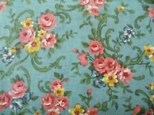 Fabric Floral Flower Shabby Chintz Cottage Pink Blue BTY Vintage Quilting