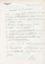CESAR Lettre autographe signée à FRANCOIS MITTERRAND
