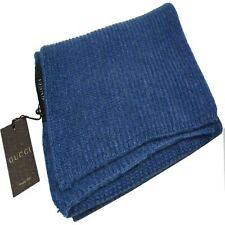GUCCI UNISEX LANA GG guccussima blu Sciarpa lavorata a maglia