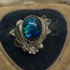 Vintage Sterling Silver Ring 925 Size 7 Native American Shell Dyed Signed $