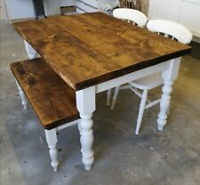 4ft X 3ft Solid Pine Rustic Plank Top Table Bench And Chair Set New Handmade