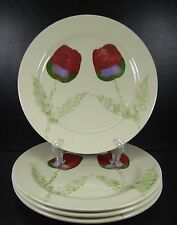Hartstone Tulips Set of 4 Dinner Plates Stoneware Hand Painted