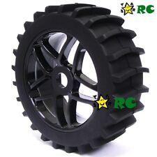 2PCS RC 1:8 Baja Buggy hex 17mm Wheel & Snow / Sand Master Paddles Tires for HPI