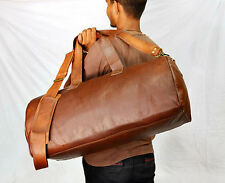Men's Vintage Brown Genuine Leather Luggage Duffle Gym Overnight Weekend Bag