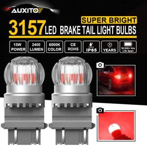 AUXITO LED Brake Stop Tail Light Bulbs Lamp C3057 3357 4057 4157 Pure Red 6T
