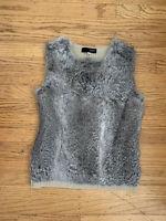 OZOC Womens real Rabbit fur sweater Vest sz 38/ Small