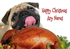 PERSONALISED FAWN PUG CHRISTMAS CARD Names on front plus your message inside