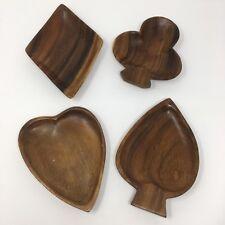 Wooden Card Suit Bowls Trays Decor Poker Mancave Spade Club Heart Diamond Bar