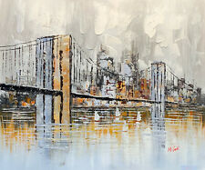 Brooklyn Bridge Oil Painting on Canvas. Handmade Cityscape Wall Art Decor.