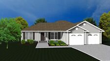 House Plans for 1585 Sq. Ft. 3 Bedroom House w/Garage