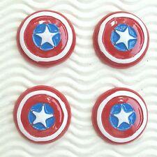 "US SELLER - 10 pc x 1.25"" Caption America Shield Patriotic Resin Flatbacks SB623"