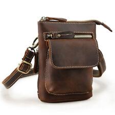 Small Men Leather Waist Bag Shoulder Bag Crossbody Bag Purse Pouch Casual Brown