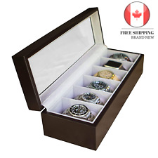 🇨🇦 Solid Wood Watch Box Organizer with Glass Display Top by Case Elegance