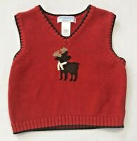 Janie and Jack Boys 12-18 Months Red Holiday Reindeer Sweater Vest Baby Moose