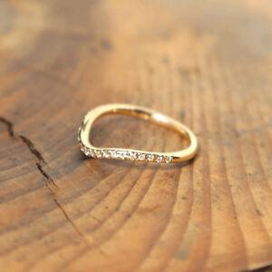 1.1mm Wedding Band Moissanite Mirco Setting 14K Yellow Gold Half Eternity Ring